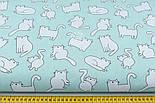 Лоскут ткани с котами Бонифаций на светло-мятном фоне №1963, размер 16*160 см, фото 2