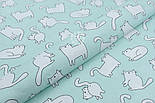 Лоскут ткани с котами Бонифаций на светло-мятном фоне №1963, размер 16*160 см, фото 5