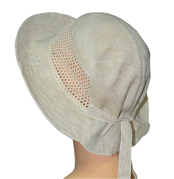 Купить бежевую женскую шляпу на завязках