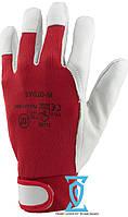 Перчатки рабочие кожа с манжетам на липучке (Польша)