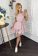 Платье  с воланом мини в горошек