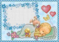 Схема для вышивки бисером Метрика для мальчика(зайка) КМР 4172