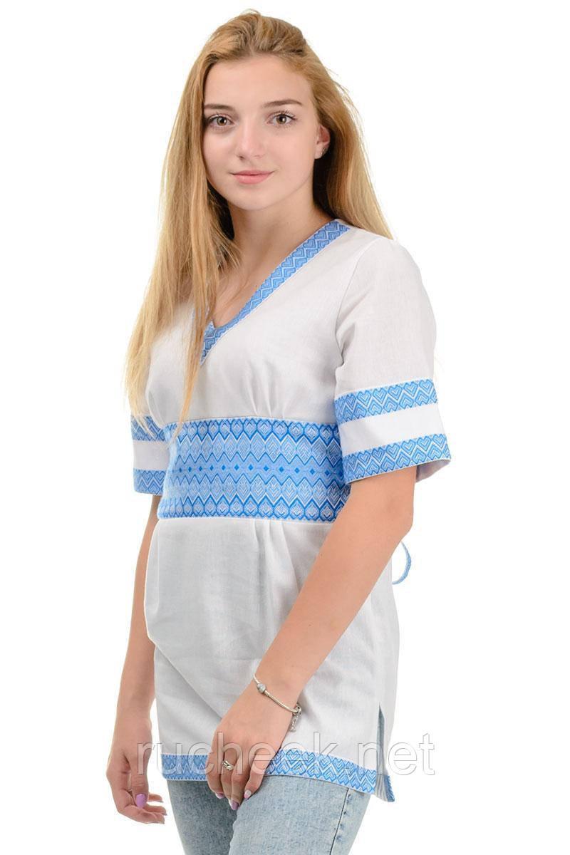 Туника вышиванка  женская белая с коротким рукавом 3/4 р-ры 42 - 52