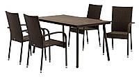 Набор садовой мебели коричневый из стали и водонепроницаемого Петана (4 стула + стол 140 см)