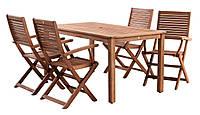 Набор мебели для сада и дачи из промасленной Хардвуда (4 складных стула + стол 150см)