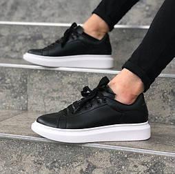 Мужские кроссовки Adidas Alexander McQueen Oversized Leather Black white. Живое фото (Реплика ААА+)