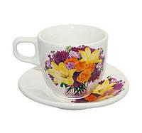 Набор кофейный керамический Цветы (12 предметов)