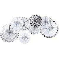 Набор гармошек, вееров бумажных декоративных СЕРЕБРО 365-13 (0804) (8 шт.)