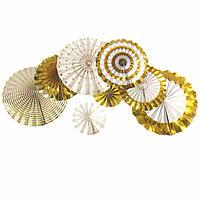 Набор гармошек, вееров бумажных декоративных ЗОЛОТО 365-14 (0804) (8 шт.)