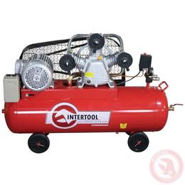 Компрессор 100 л, 4 кВт, 380 В, 8 атм, 600 л/мин. 3 цилиндра INTERTOOL PT-0036, фото 2