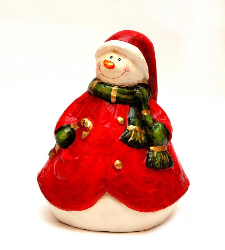 Новогодняя сувенирная фигурка Снеговика, папье-маше (013432)