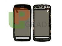 Тачскрин для Nokia 603, черный, с передней панелью