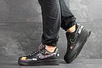 Мужские кроссовки Nike Air Force 1 Just Do It (черные), фото 3