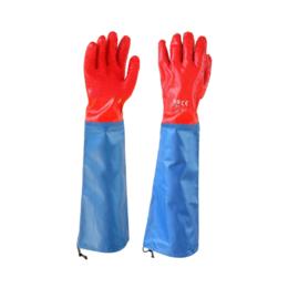 """Перчатки SG - 020 """"МБС красные с нарукавником"""" пвх покрытие крошкой, (60см)"""