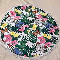 Пляжные круглые полотенца / покрывала с бахрамой Бабочки