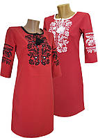 Червона вишита коротка сукня з рослинним орнаментом