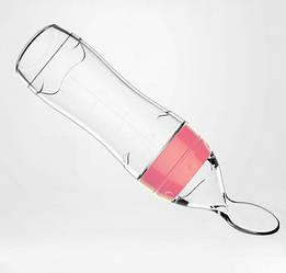 Бутылочка для кормления Sunroz силиконовая с ложечкой и колпаком 120 мл Розовый (SUN1389)