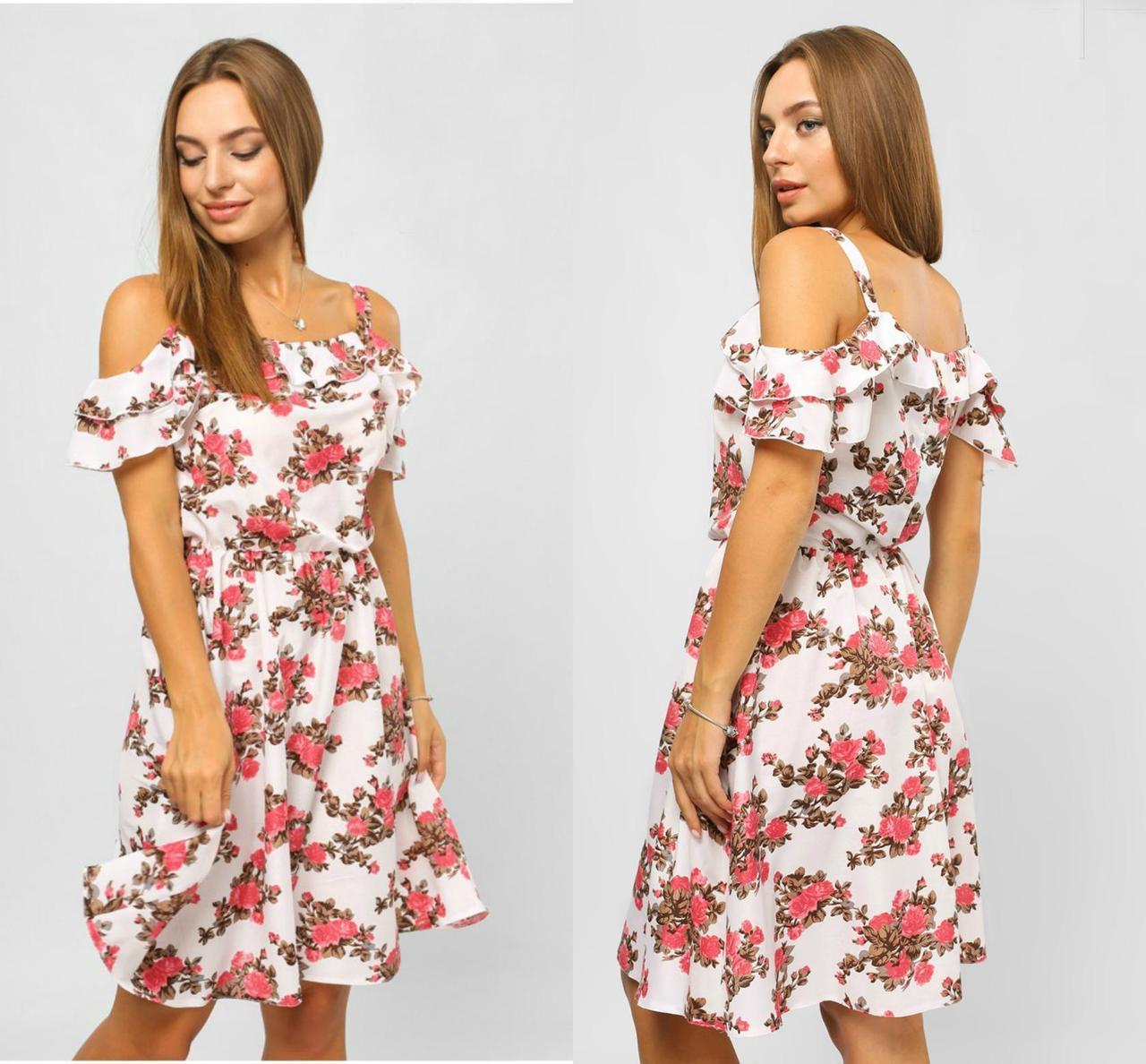 """Шикарное женское платье с открытыми плечиками """"Штапель"""" размер 42 норма"""