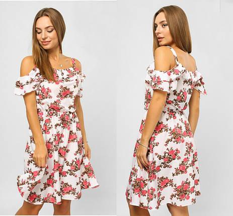 """Шикарное женское платье с открытыми плечиками """"Штапель"""" размер 42 норма, фото 2"""