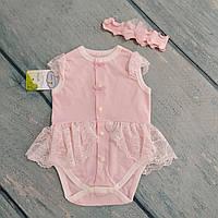 Боди с юбочкой и повязка для новорожденной девочки