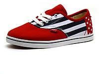 Кеды Vans, унисекс, текстиль, красные, размеры, фото 1