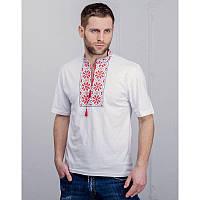 Чоловіча вишита футболка: «ЧЕРВОНА СНІЖИНКА», біла
