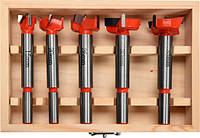 Набор сверл-фрез по дереву 15-35 мм со шпинделями 8/10 мм в  футляре YATO, 5 шт.