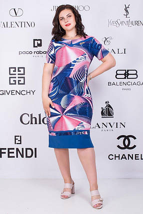 """Красивое женское платье  """"Масло+трикотаж"""" 54, 56, 58, 62 размеры батал, фото 2"""