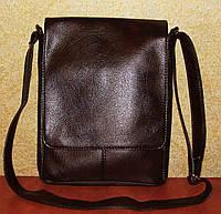 Вместительная коричневая мужская сумка без вышивки, фото 1