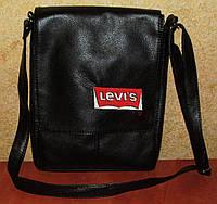 Стильная черная мужская сумка с вышивкой Levis, фото 1