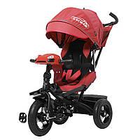 Велосипед коляска трехколесный с родительской ручкой, пультом и игровой панелью TILLY Cayman T-381 Красный
