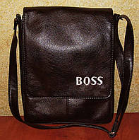 Вместительная мужская сумка коричневого цвета с вышивкой Boss, фото 1
