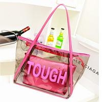 Женская прозрачная пляжная сумка TOUGH розовая