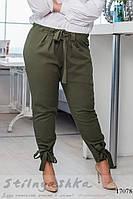 Льняные брюки большого размера хаки, фото 1