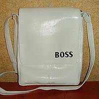 Вместительная мужская сумка белого цвета с вышивкой Boss, фото 1