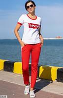 Трикотажный спортивный костюм женский летний красно-белый 42-46 размеров