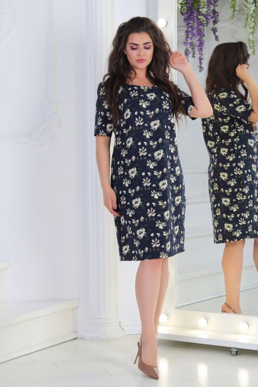 Легкое женское платье *Лен*  50, 52 размер батал