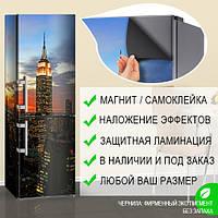 Магнитная наклейка на холодильник Перед рассветом Город, виниловый магнит, 600*1800 мм, Лицевая