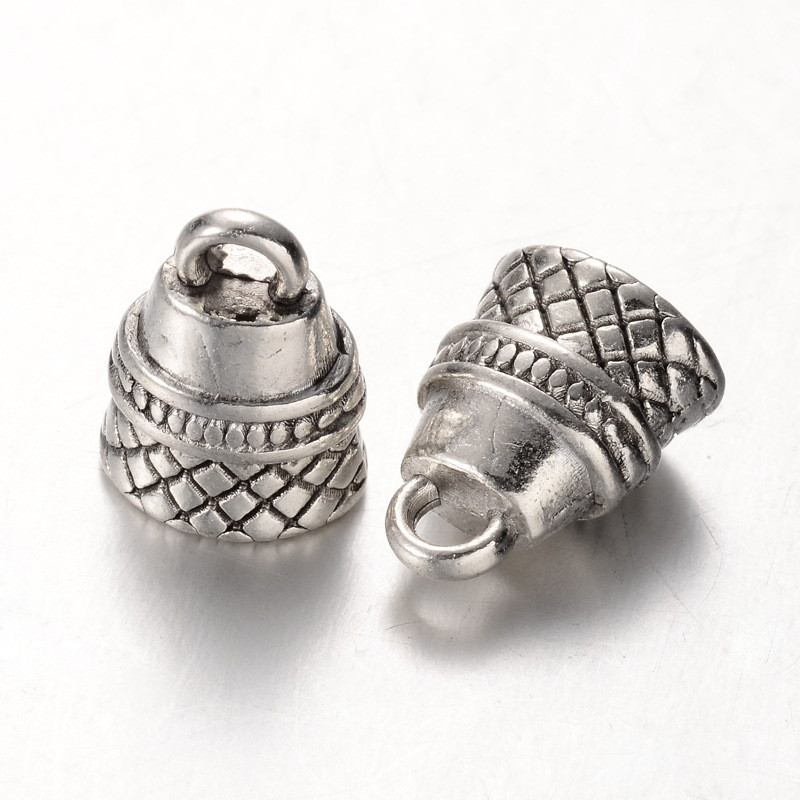 Концевик для шнура металлический 12х9х7мм античное серебро для рукоделия