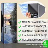 Магнитная наклейка на холодильник Отражение неба в воде Природа, виниловый магнит, 600*1800 мм, Лицевая