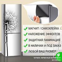 Магнитная наклейка на холодильник Одуванчик черно-белый пушистый, виниловый магнит, 600*1800 мм, Лицевая