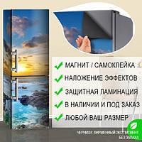 Магнитная наклейка на холодильник Прибой на каменистом береге и солнце, виниловый магнит, 600*1800 мм, Лицевая