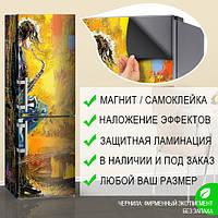 Магнитная наклейка на холодильник Музыкант акварель винтаж, виниловый магнит, 600*1800 мм, Лицевая