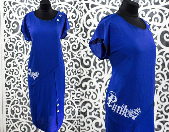 "Женское платье цвет электрик ткань ""Лен"" размер 50, 52, 54, 56 батал 52, фото 2"