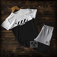 Шорты и футболка Off White черно-бело-серого цвета (Офф Вайт) летний спортивный костюм
