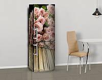 Магнитная наклейка на холодильник Розы букет на деревянном фоне (виниловый магнит), 600*1800 мм, Лицевая, фото 1