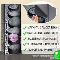 Магнитная наклейка на холодильник Черные круглые камни и водяные капли виниловый магнит, 600*1800 мм, Лицевая