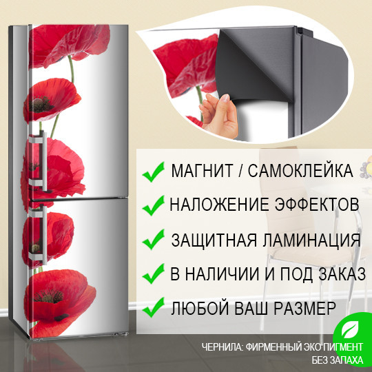 Магнитная наклейка на холодильник Красные круглые Маки (виниловый магнит), 600*1800 мм, Лицевая