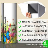 Магнитная наклейка на холодильник (виниловый магнит) Холодильник рисунок, 600*1800 мм, Лицевая