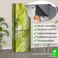 Магнитная наклейка на холодильник Зеленые колоски ячменя поле (виниловый магнит), 600*1800 мм, Лицевая